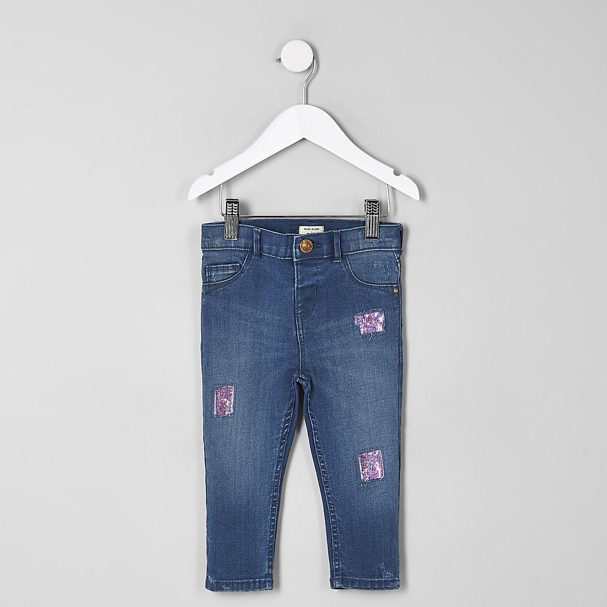 Mini girls blue Amelie sequin patched jeans