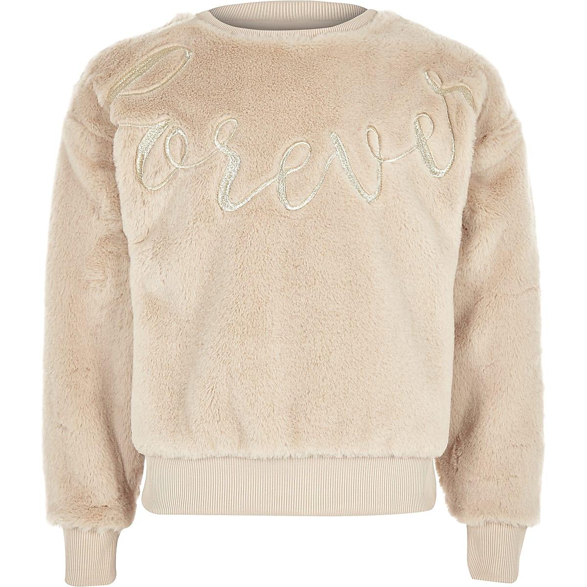 Girls cream faux fur sweater