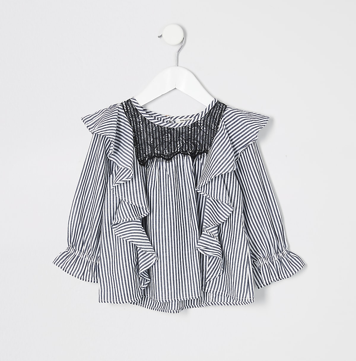 Mini girls blue stripe lace trim swing top
