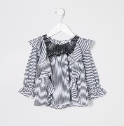 Mini girls blue stripe lace trim swing top
