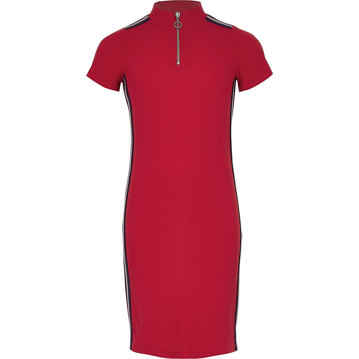 Front Zip Red Girls Side Rib Dress Tape txhsCodBQr