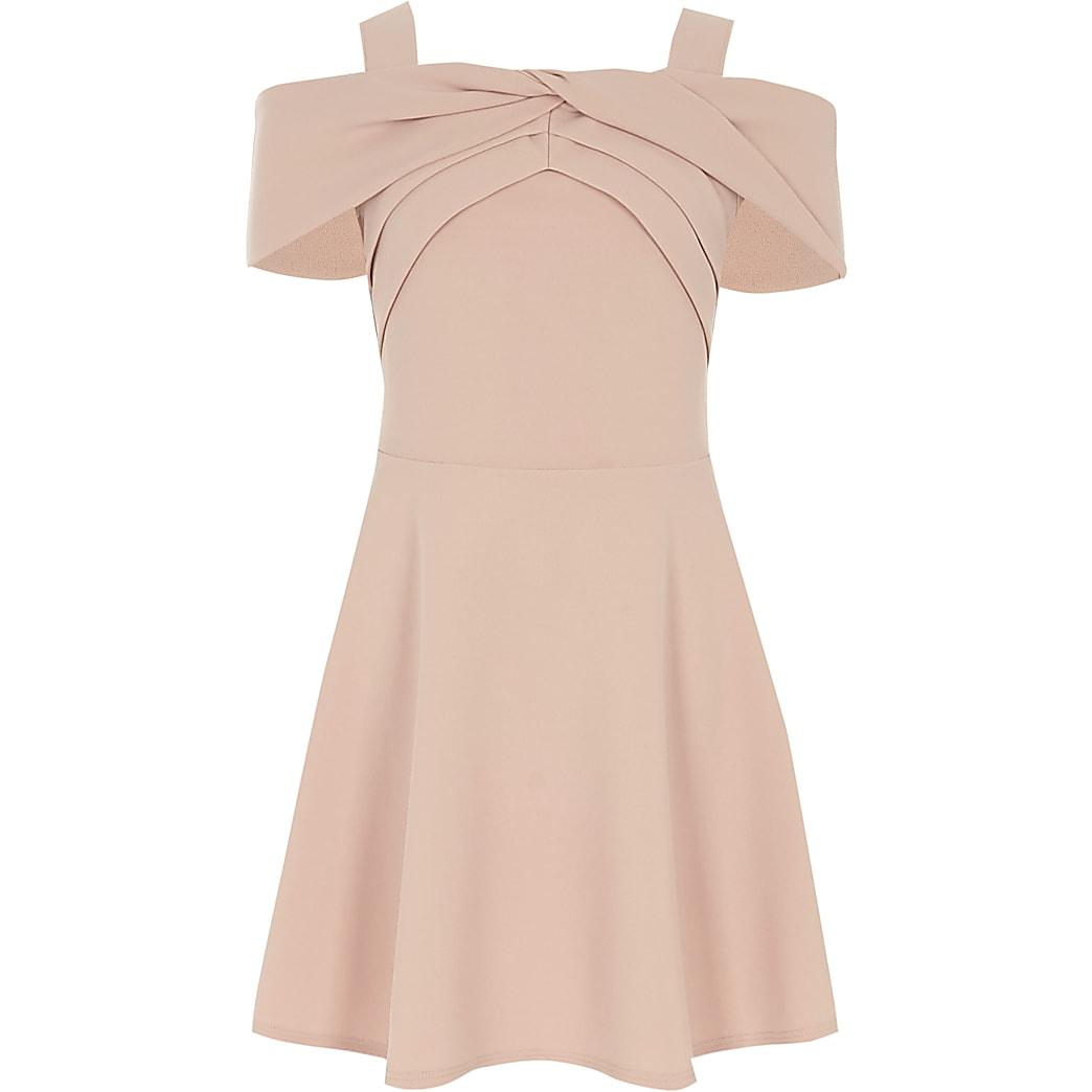 Girls pink scuba bow dress