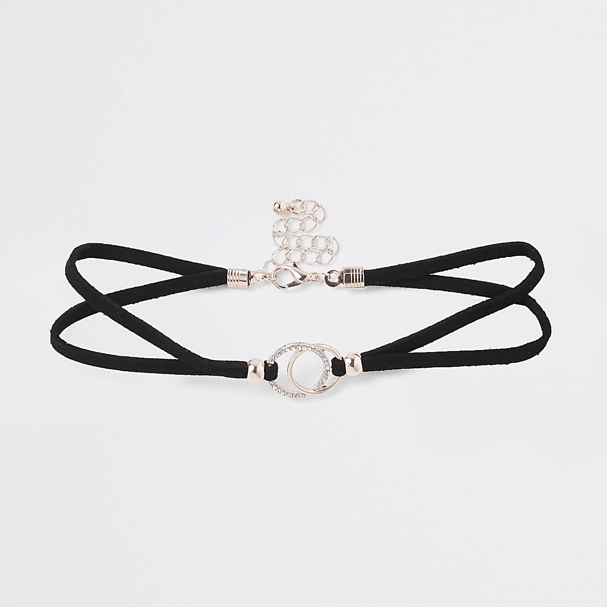 Girls black interlink circle choker