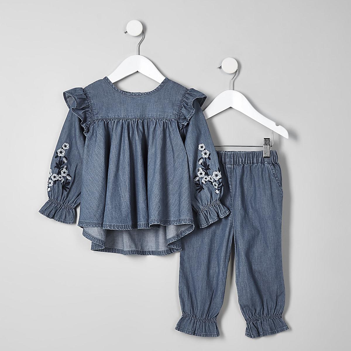 Mini girls blue denim swing top outfit