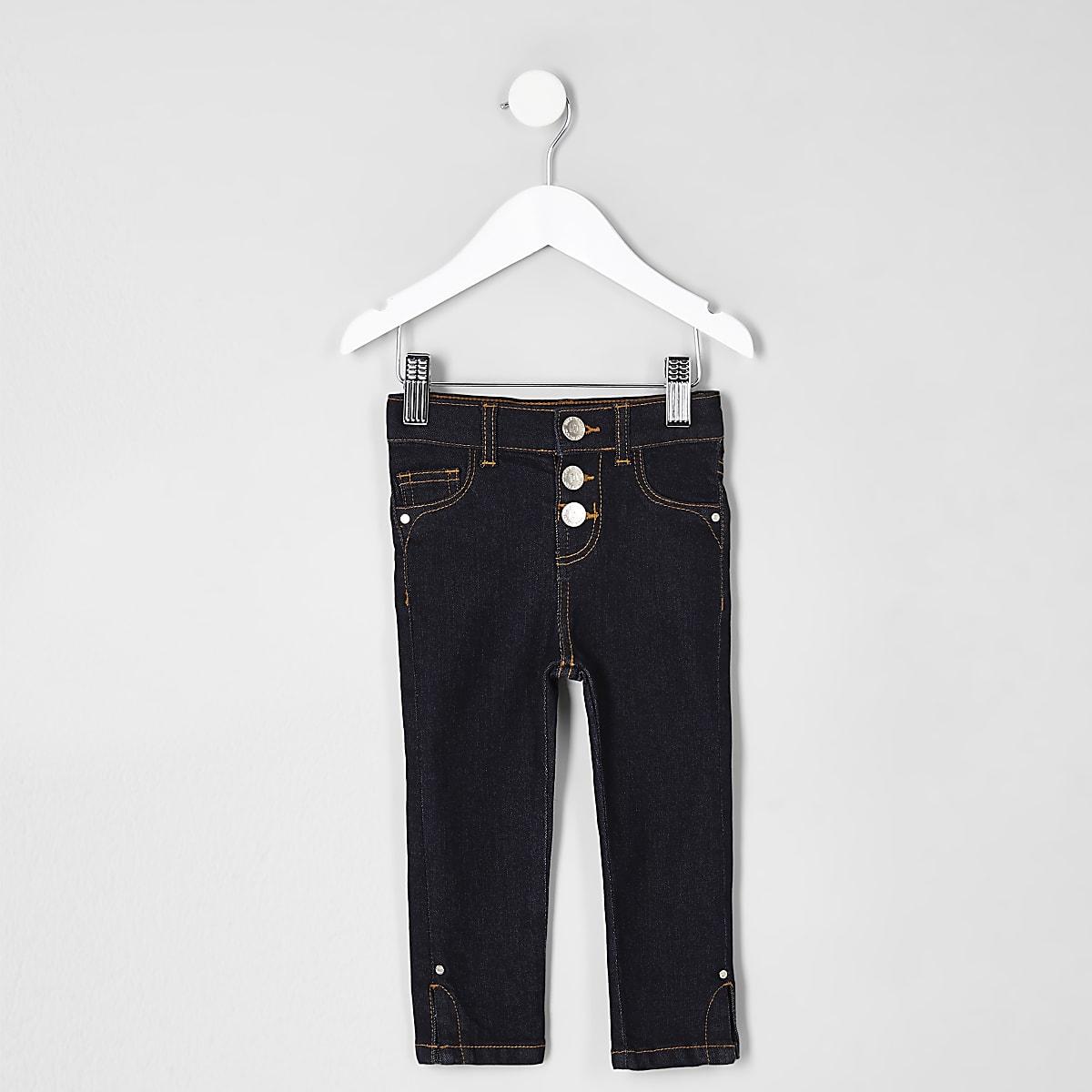Mini girls dark blue Molly split hem jeans