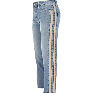 Girls blue Amelie straight leg stripe jeans