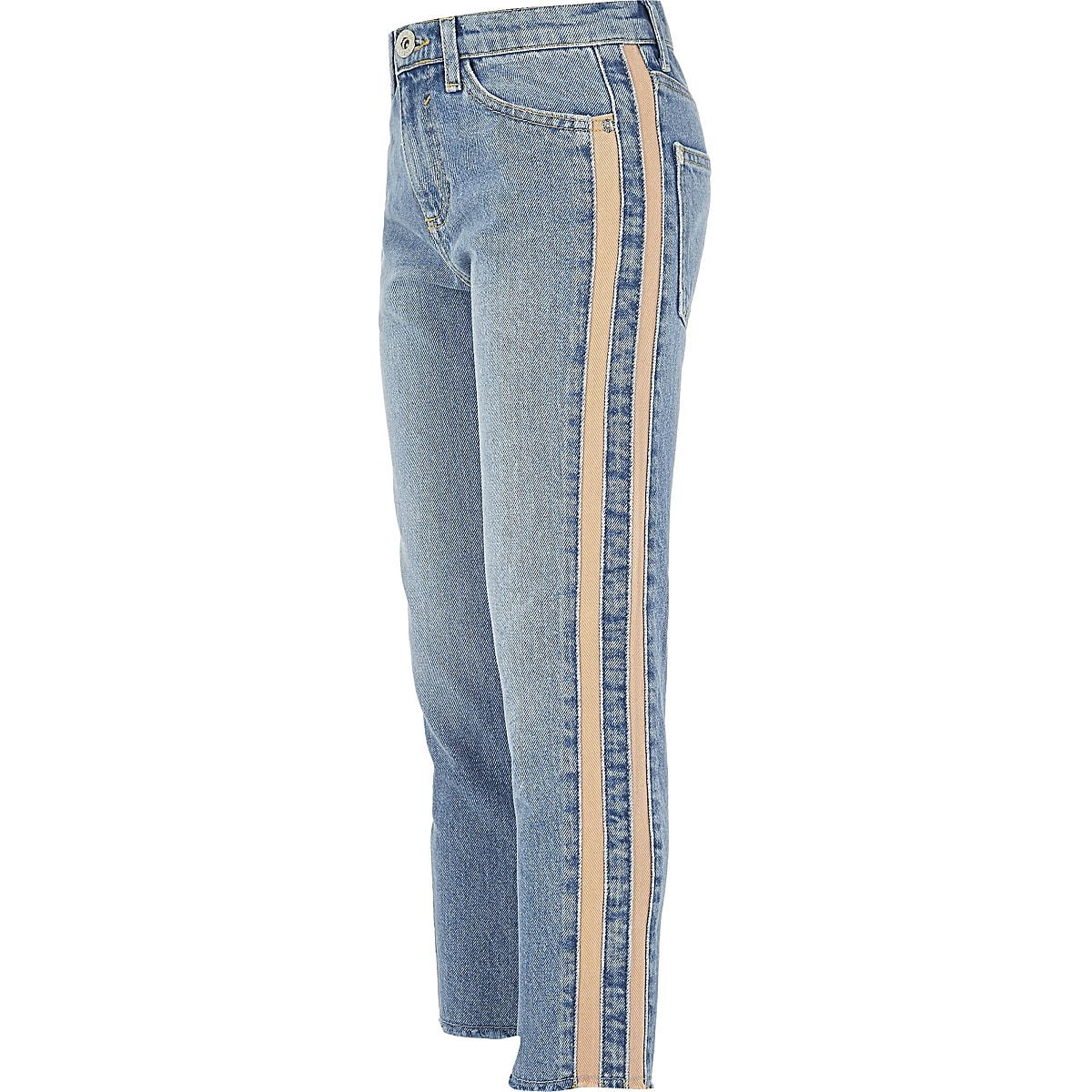 Girls blue Amelie straight leg stripe jeans