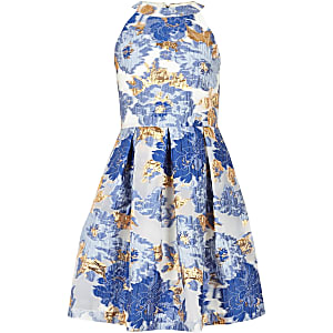 Girls blue metallic jacquard prom dress