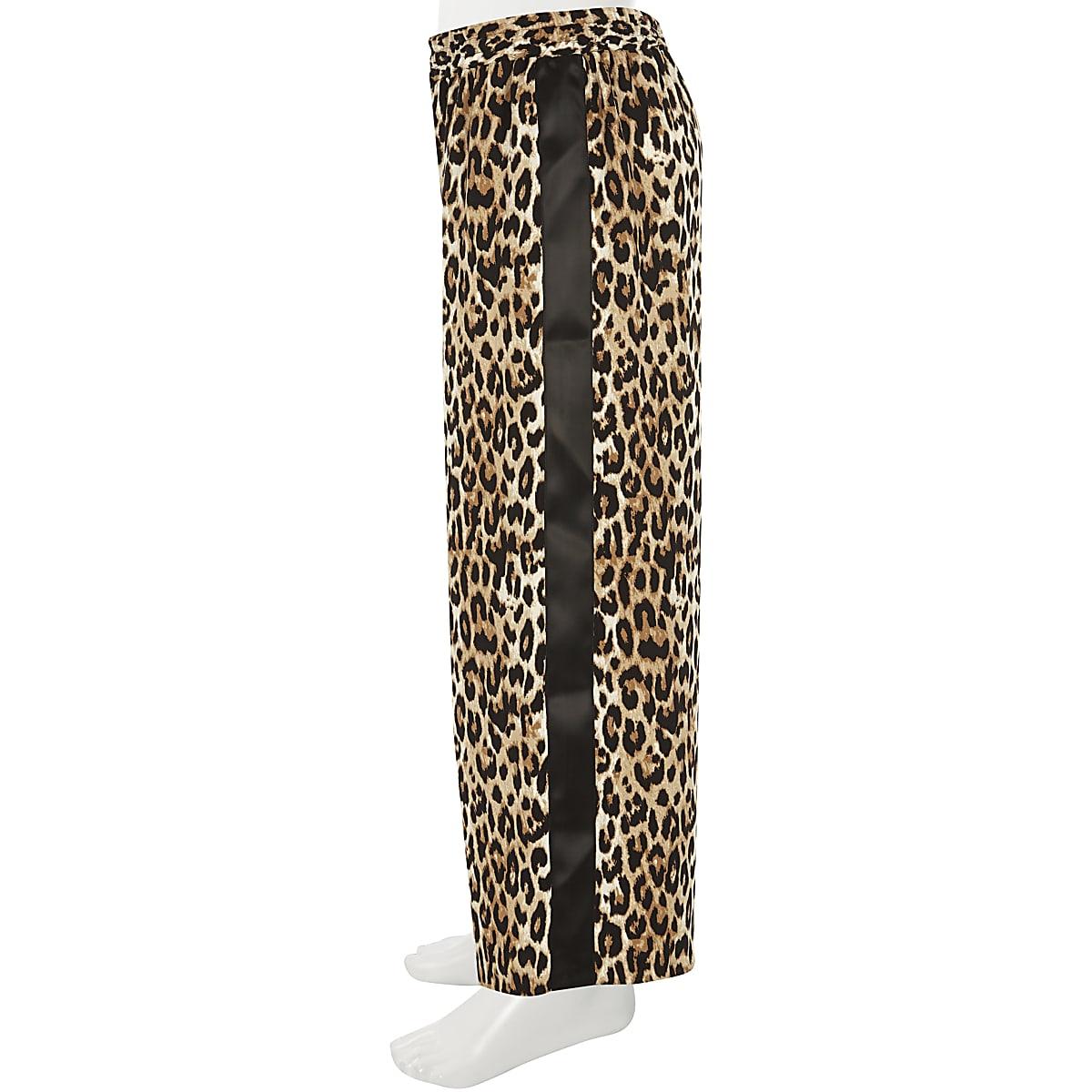 Girls leopard print wide leg palazzo pants