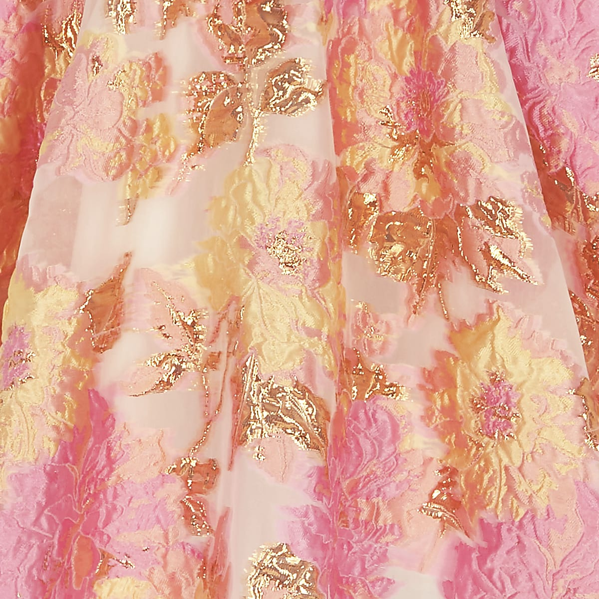 87b31dd385a457 Girls pink and yellow jacquard prom skirt