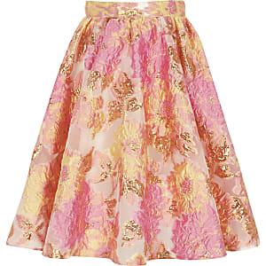 Roze met gele jacquard galarok voor meisjes