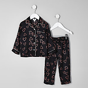 Mini girls black heart print pajama set