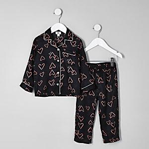 Mini - Zwarte Kerst pyjamaset met print voor meisjes