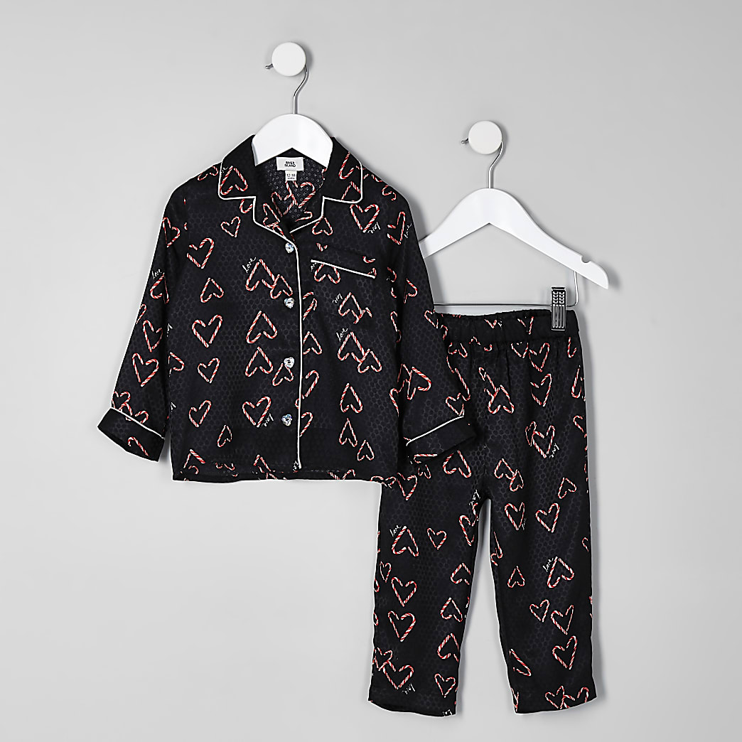 Mini girls black Christmas printed pyjama set