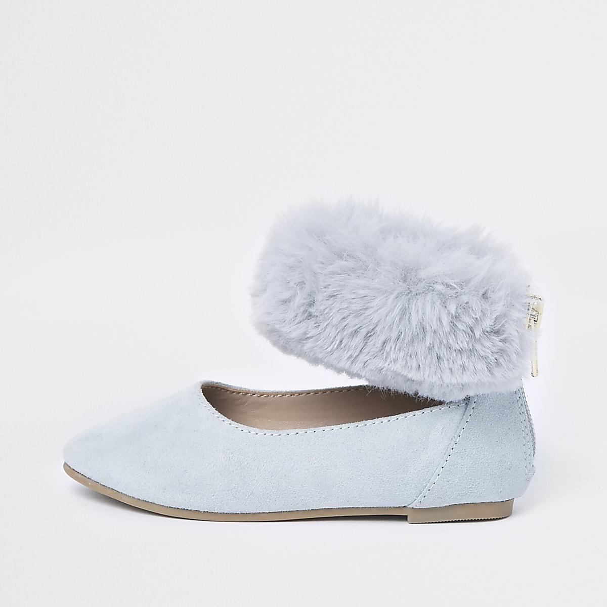 Mini girls blue faux fur ballet flats