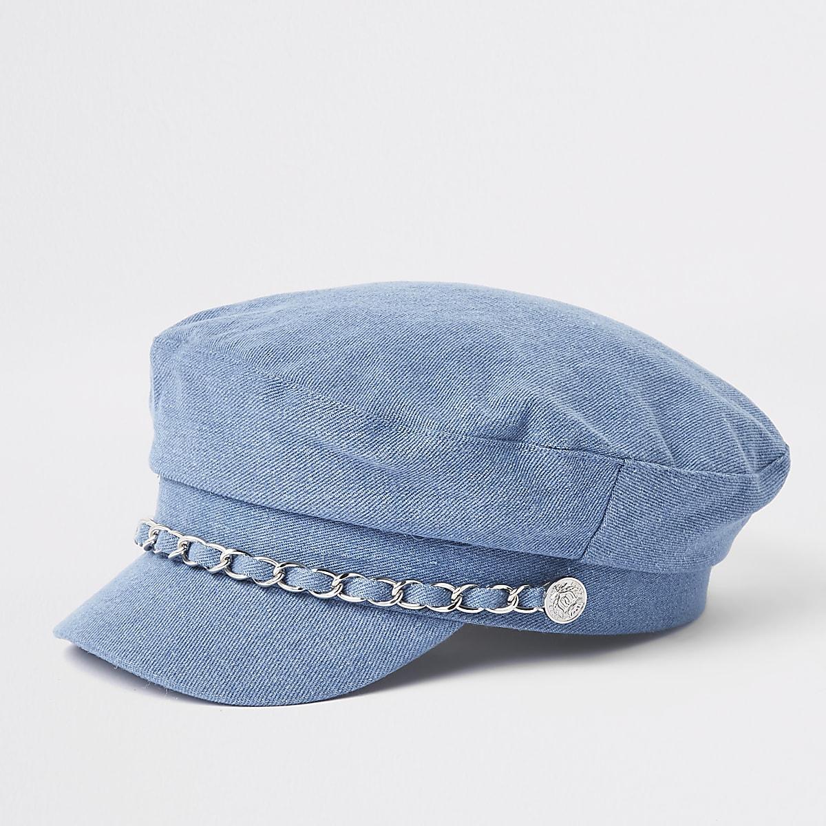 Mini girls blue chain trim baker boy hat