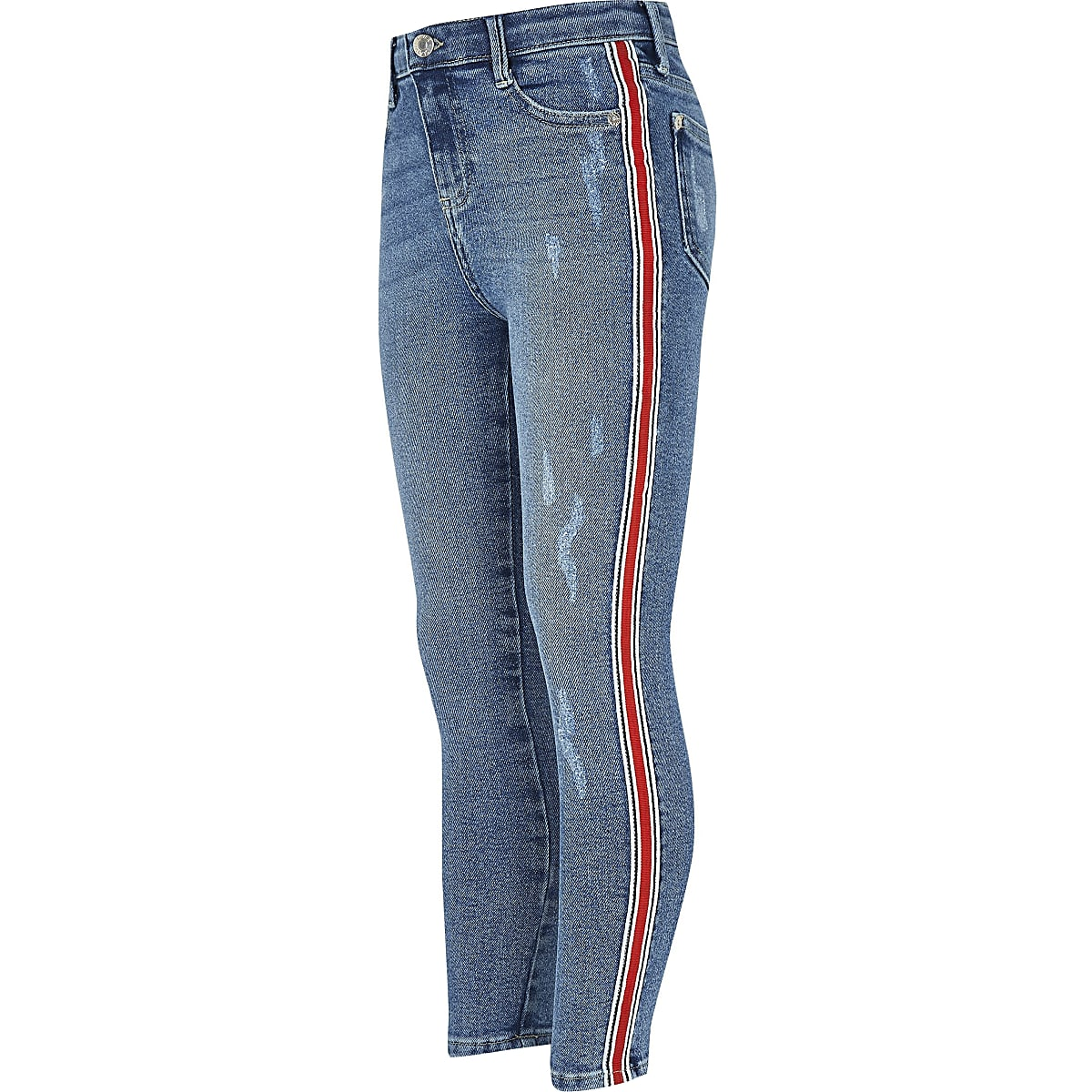 Girls blue Amelie side stripe skinny jeans