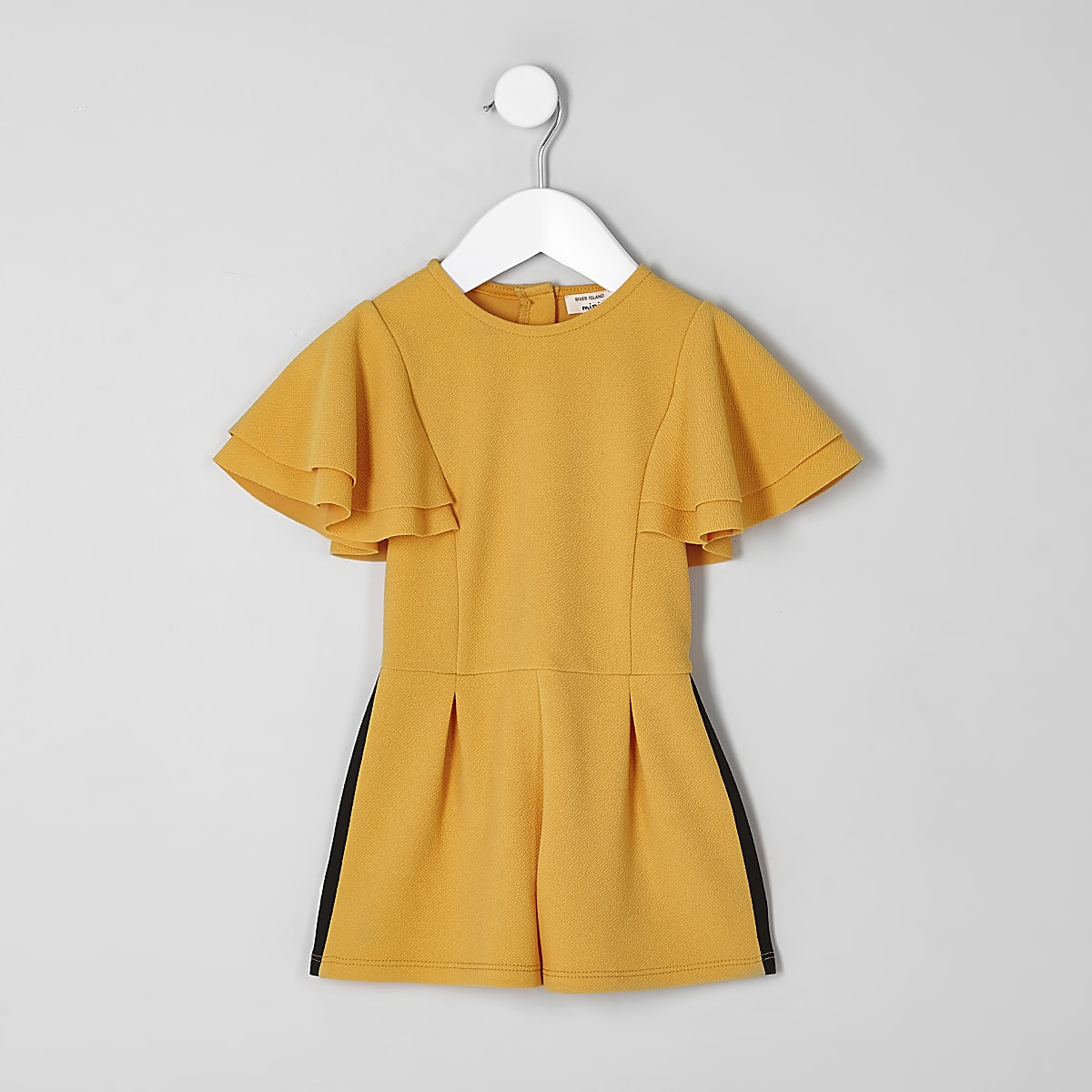 Mini girls yellow frill sleeve tape playsuit