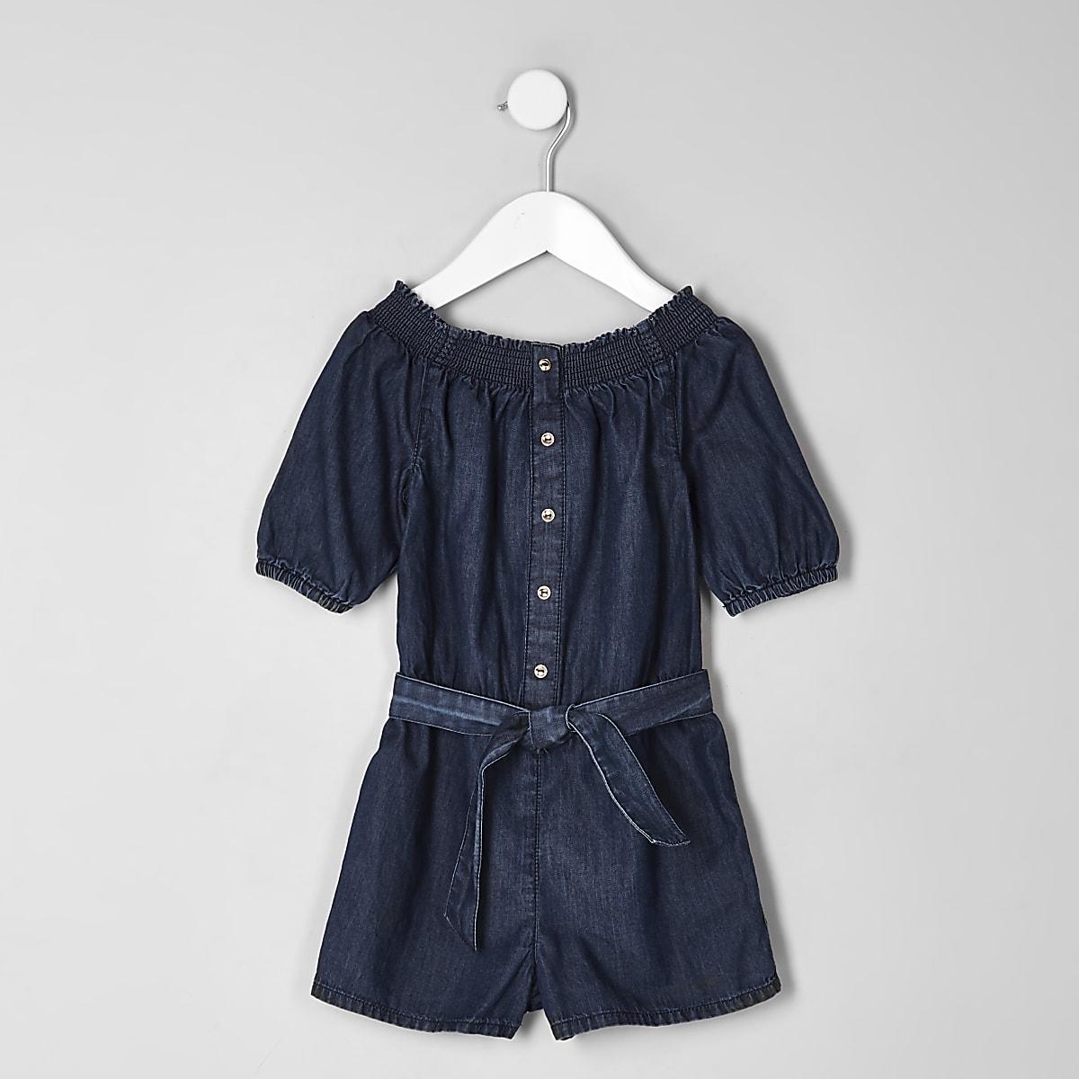 Mini girls blue denim bardot playsuit