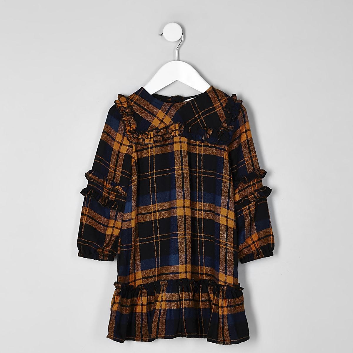 4066fa79dddb6 Robe à carreaux moutarde à volants mini fille - Robes pour bébé ...