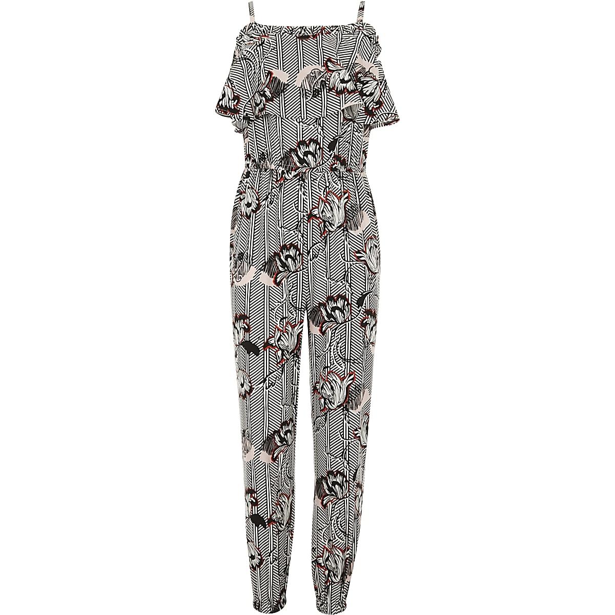 a3a8e7b2511fe Girls white floral print ruffle jumpsuit - Jumpsuits - Playsuits &  Jumpsuits - girls