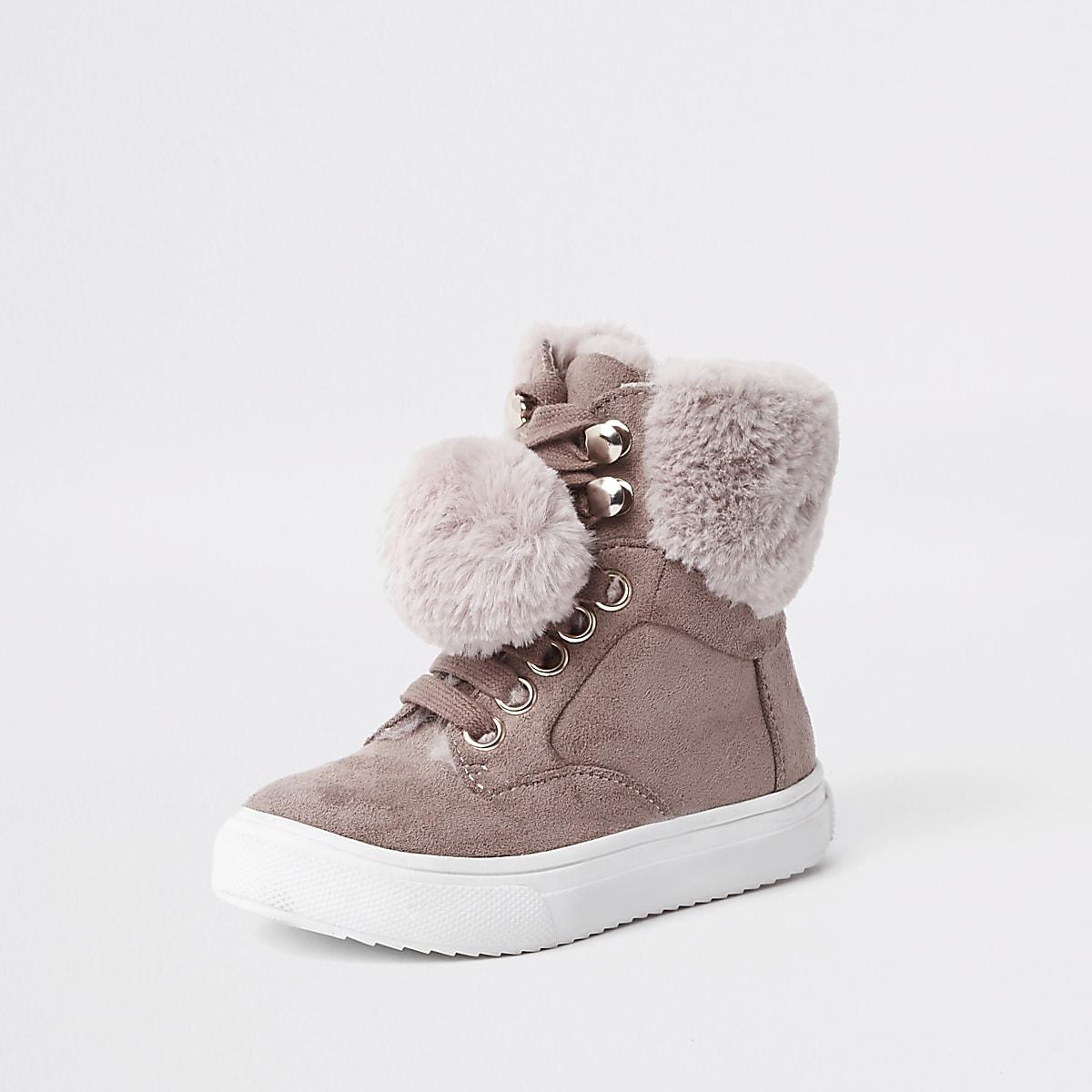 82df3781a0da7 Mini girls pink suede faux fur pom high tops - Baby Girls Trainers ...