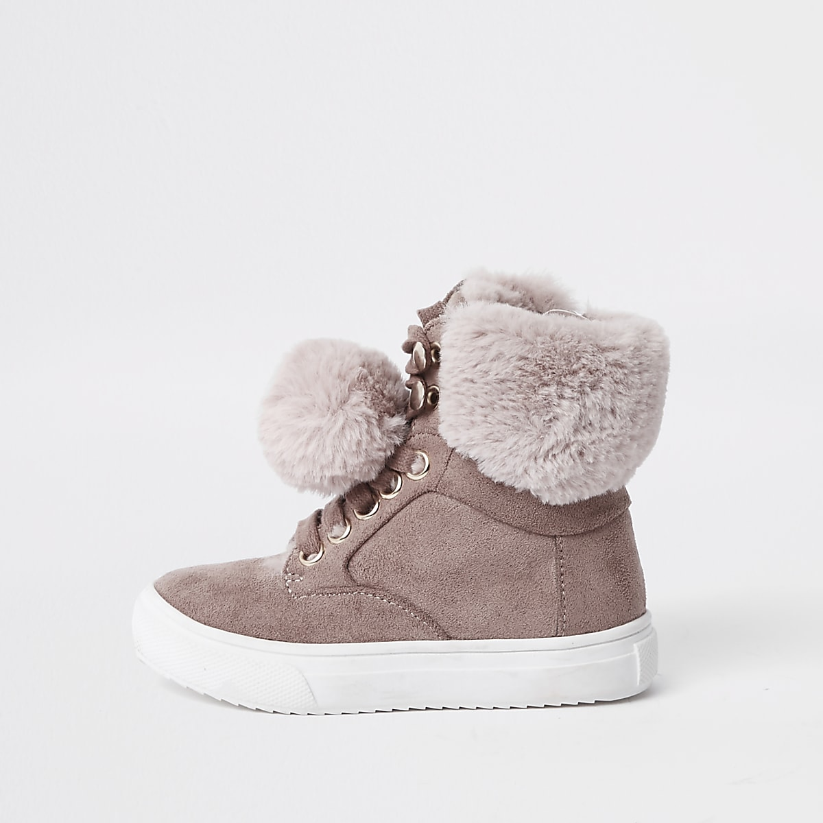 4114d774a4190 Mini girls pink suede faux fur pom high tops - Baby Girls Trainers - Baby  Girls Shoes & Boots - Mini Girls - girls