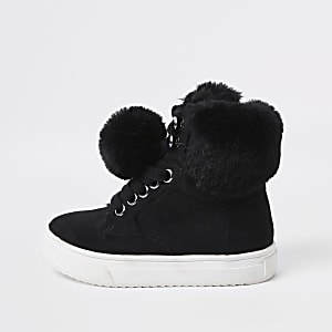 Mini girls black faux fur high top trainers