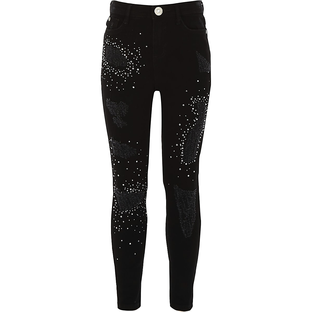Girls black Amelie ripped embellished jeans