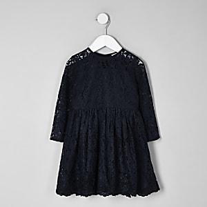 Marineblaues Skater-Kleid aus Spitze