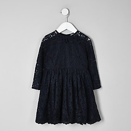 Mini girls navy lace skater dress