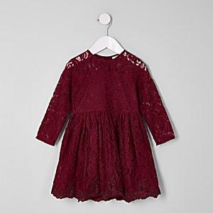Mini girls burgundy lace skater dress