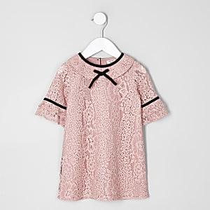 Robe droite en dentelle rose mini fille