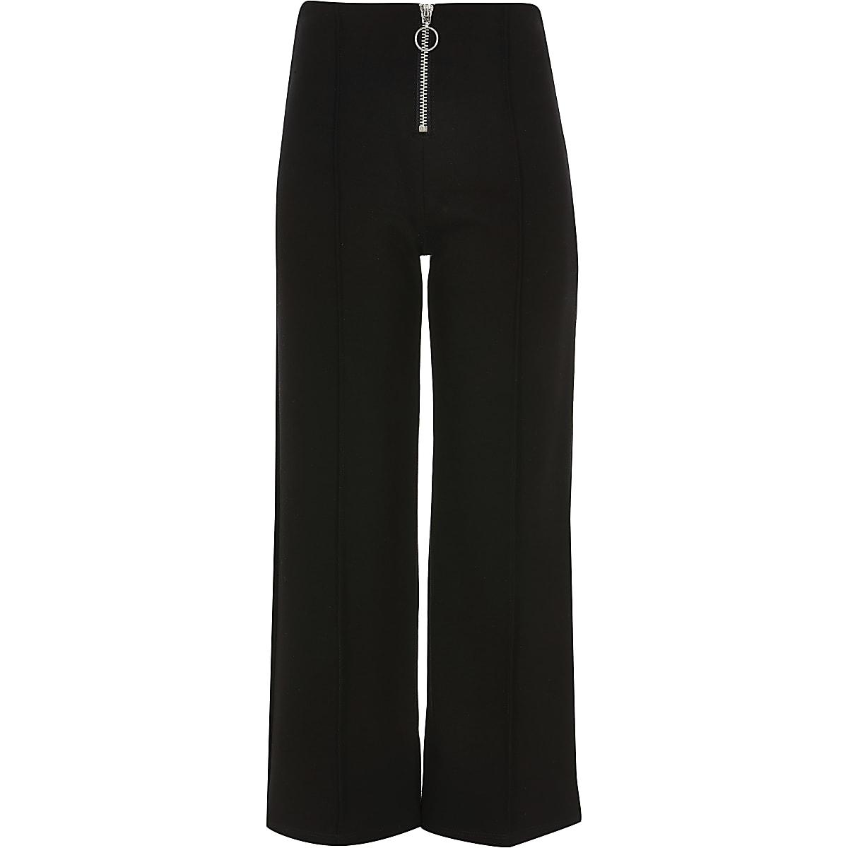Pantalon noir zippé devant façon jupe-culotte pour fille