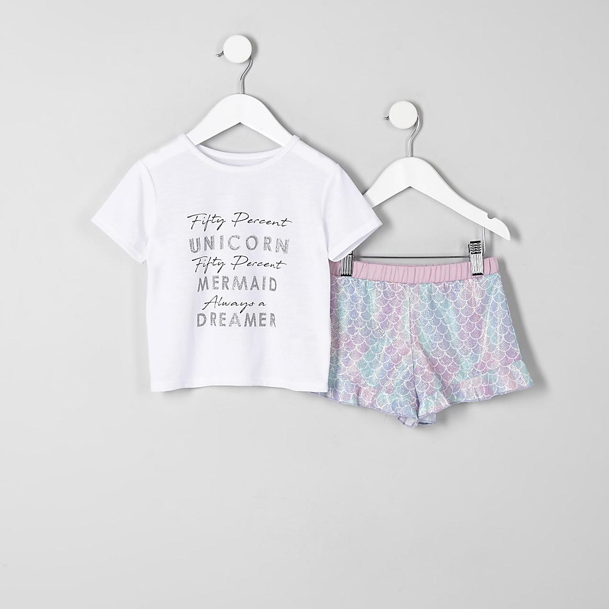 Mini - Witte pyjamaset met 'unicorn'-print en ruches voor meisjes