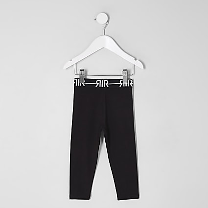 Mini girls black RI branded leggings
