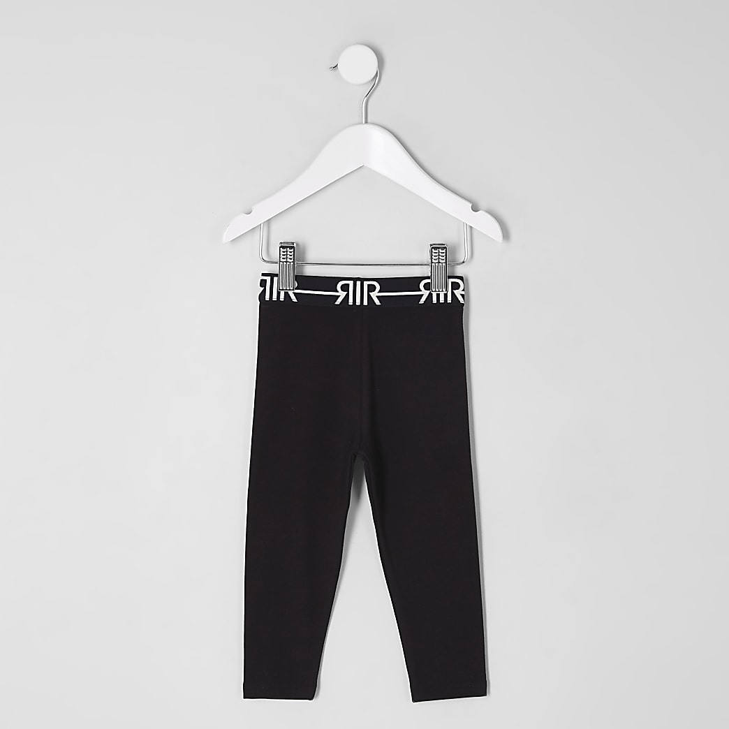Mini girls black RI branded leggings