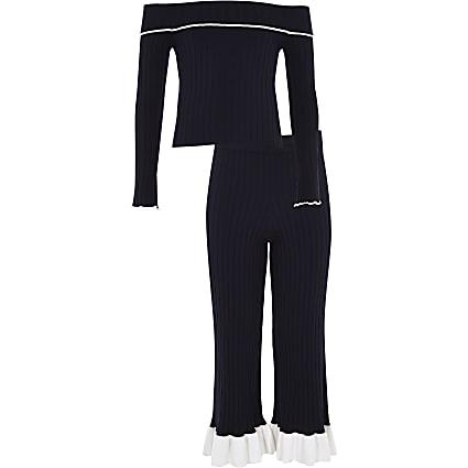 Girls navy knit ribbed bardot top outfit
