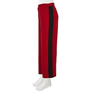 Pantalon large rouge à rayures latérales pour fille
