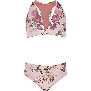 Ensemble bikini triangle à fleurs rose pour fille