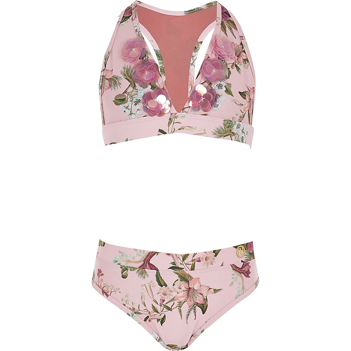 Girls pink floral print triangle bikini set