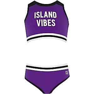 Paarse cropped tankini met 'Island vibes'-print voor meisjes