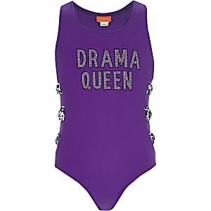Paars zwempak met 'drama queen'-print voor meisjes