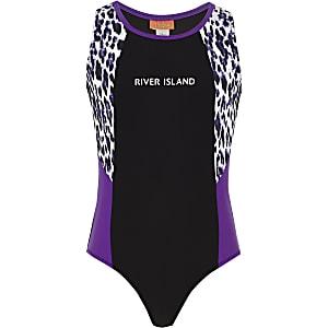 Zwart zwempak met RI-logo en luipaardprint voor meisjes