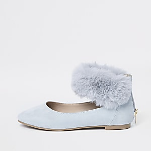 Girls blue faux fur ballet flats