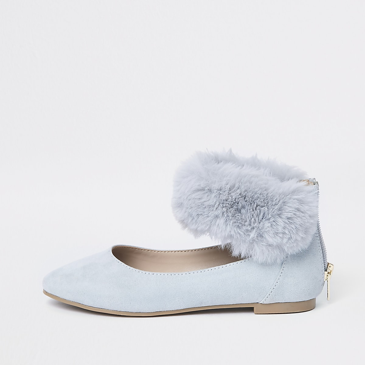 Girls blue faux fur ballerina pumps
