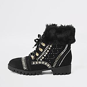 RI 30 girls black RI lace-up boots