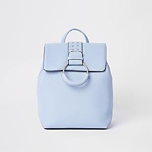Girls blue ring studded backpack