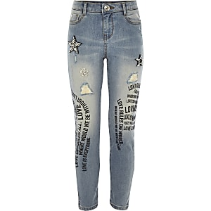 Girls blue embellished graffiti jeans