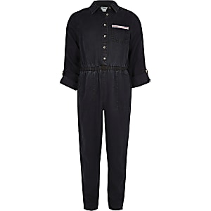 Girls blue tape denim jumpsuit